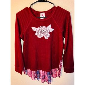 a7c0360cc62 Jenna   Jessie Girls Red Thermal Top Large Size 14